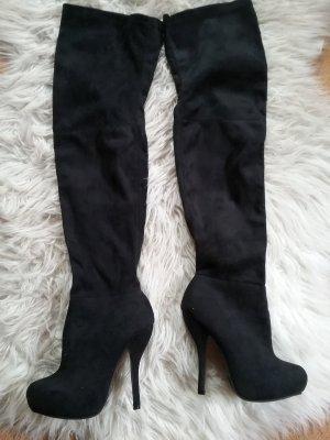 Forever 21 Kniehoge laarzen zwart Imitatie leer