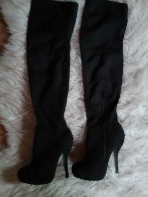 Forever 21 Overknees black imitation leather