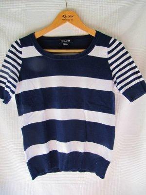 Forever 21 Pullover halbarm in blau-weiß
