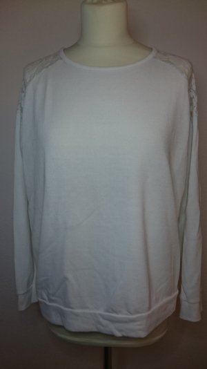 ★ Forever 21 Pullover mit Spitzenapplikation weiss ★