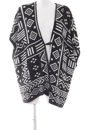 Forever 21 Poncho de punto negro-blanco puro estampado azteca look Boho