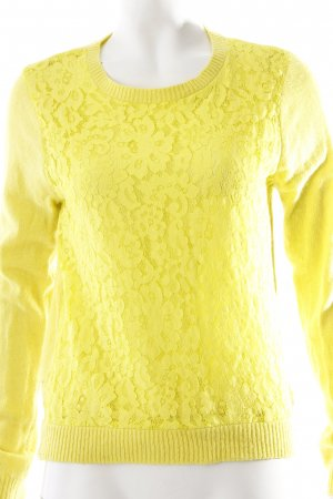 Forever 21 Strickpullover gelb Blumenmuster Casual-Look