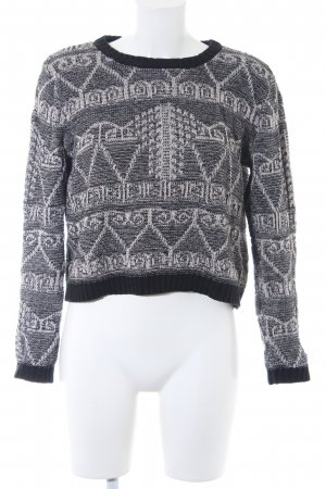 Forever 21 Strickpullover schwarz-creme Webmuster Casual-Look