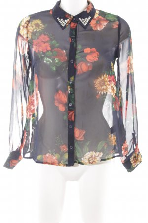 Forever 21 Transparenz-Bluse dunkelblau-hellrot Blumenmuster Casual-Look
