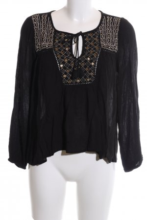 Forever 21 Tunikabluse schwarz grafisches Muster Casual-Look
