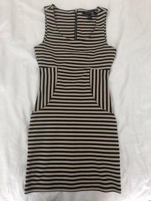 Forever21 Figurbetontes Kleid in S, schwarz/beige gestreift mit Reißverschluss am Rücken