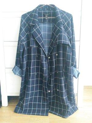 Forever21 Grid Coat/Mantel Herbst Sommer L dunkelblau/weiß cos stories zara
