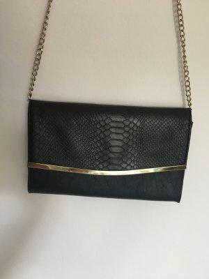 Forever21 schwarze Umhängeclutch in Kroko-Optik mit goldenen Details