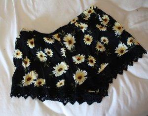 Forever21 Shorts Blumen Print Spitze Sonnenblumen schwarz gelb S