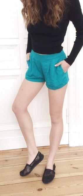 Forever21 Shorts high Waist türkis neu 34 XS