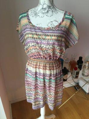 Forever21 Strandkleid Kleid Tunika bunt Muster Gr L