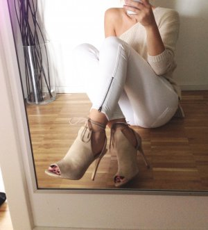 Forever21 Wildleder 37 Heels Stiefeletten Peeptoe Ankle Boots Beige Nude