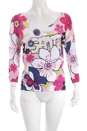 form e couleur V-Ausschnitt-Pullover Blumenmuster