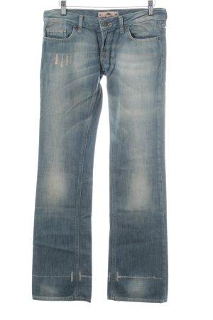 Fornari Jeans met rechte pijpen neon blauw tweedehandse uitstraling