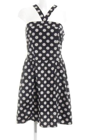Fornarina A-Linien Kleid schwarz-hellgrau Punktemuster 50ies-Stil