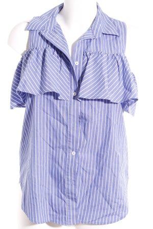 Fornarina ärmellose Bluse weiß-himmelblau Streifenmuster Casual-Look