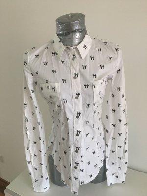 Fornarina, Bluse mit bedruckten Schleifchen, Gr. S