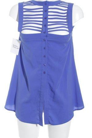 Fornarina Blusentop blau-stahlblau Monogram-Muster Party-Look