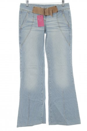 Fornarina Boot Cut Jeans stahlblau-creme Streifenmuster Destroy-Optik