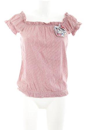 Fornarina Camisa tipo Carmen rojo oscuro-blanco estampado a rayas look casual