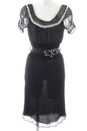 Fornarina Chiffonkleid schwarz-weiß Allover-Druck Casual-Look
