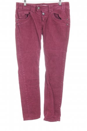 Fornarina Corduroy Trousers raspberry-red striped pattern casual look