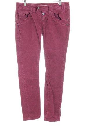 Fornarina Pantalon en velours côtelé rouge framboise motif rayé