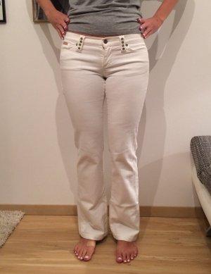 Fornarina Damen Jeans Damenjeans weiß mit aufwändigen Strasssteinen