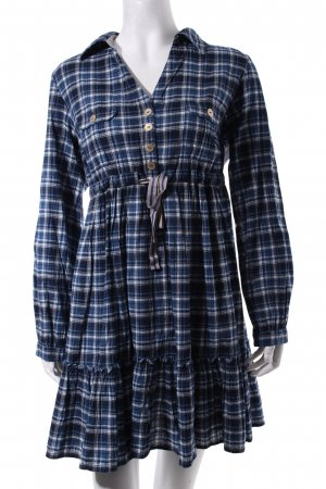 Fornarina Empire Dress blue-white check pattern romantic style