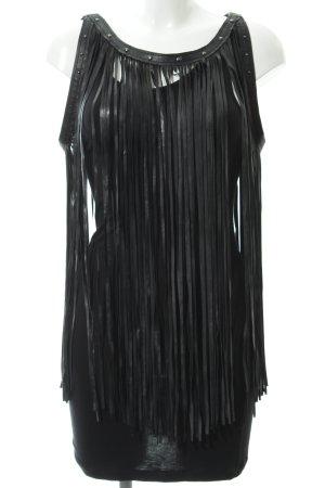 Fornarina Fransenkleid schwarz extravaganter Stil