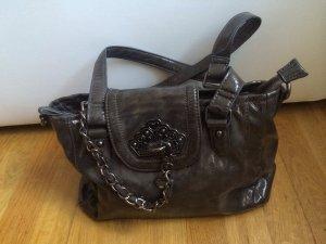 Fornarina Handtasche, Grau Lackleder
