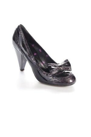 Fornarina High Heels schwarz-silberfarben Schleifen-Detail