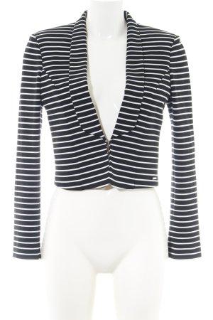 Fornarina Kurz-Blazer schwarz-weiß Streifenmuster Casual-Look