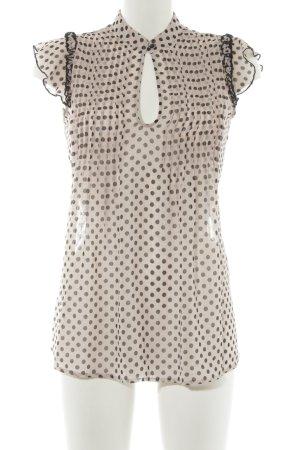 Fornarina Kurzarm-Bluse beige-schwarz Punktemuster Elegant