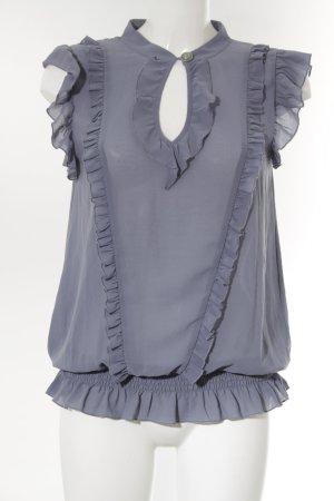 Fornarina Kurzarm-Bluse grauviolett schlichter Stil