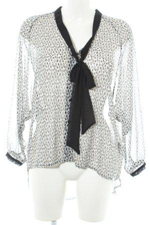 Fornarina Langarm-Bluse schwarz-weiß grafisches Muster Business-Look