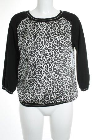 Fornarina Langarm-Bluse schwarz-weiß Leomuster Animal-Look