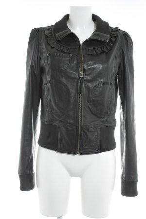 Fornarina Giacca in pelle marrone-nero stile da moda di strada