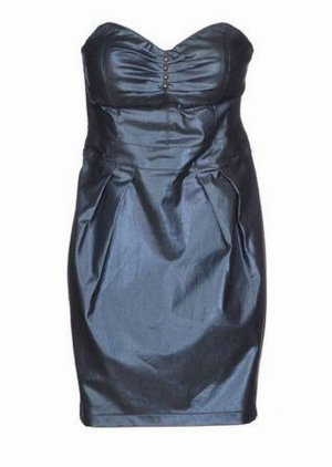 FORNARINA metallic denim dress blau Bustier Bandeau Kleid S XS 34 36