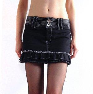 Fornarina MIDLAND - Mini Jeans Rock Volantrock black – XS
