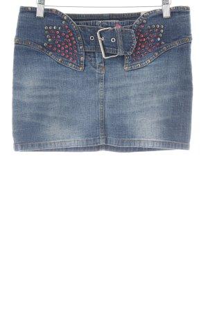 Fornarina Minirock stahlblau Jeans-Optik