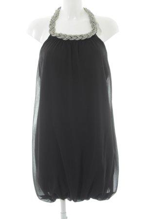 Fornarina Vestido de cuello Halter negro-color plata elegante
