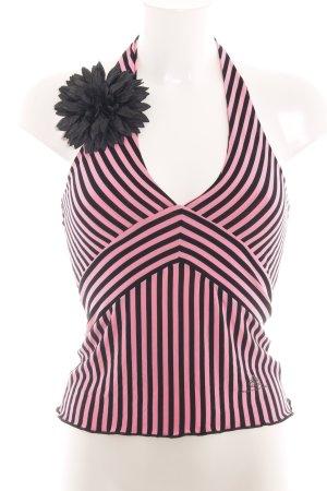 Fornarina Top senza maniche rosa-nero motivo a righe stile casual