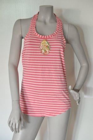 Fornarina Ringel Top mit Schluppe rückseitig pink weiß Gr. L