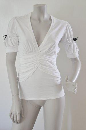 Fornarina Shirt mit Raffungen Baumwolle Elasthan weiß Gr. M