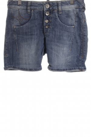 Fornarina Shorts dunkelblau-wollweiß Washed-Optik