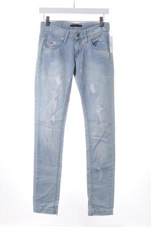 Fornarina Skinny Jeans hellblau Destroy-Optik