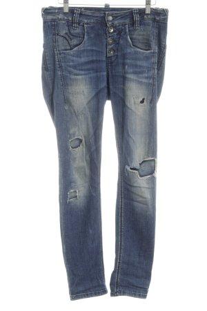 Fornarina Slim Jeans blau-weiß Casual-Look