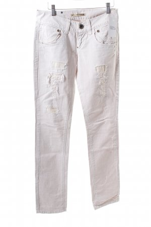 Fornarina Slim Jeans hellbeige Destroy-Optik
