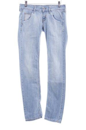 Fornarina Slim Jeans stahlblau-hellbeige Casual-Look